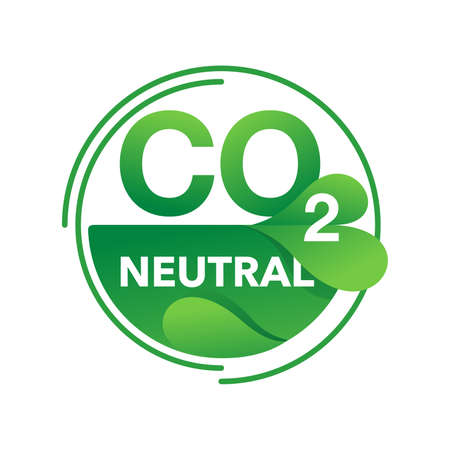 CO2 neutral eco production stamp (net zero carbon footprint) - no air atmosphere pollution - industrial eco-friendly isolated sign in creative eco-friendly decoration