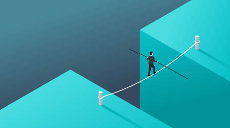 Business risk and professional strategy concept - businessman walks over gap as tightrope walker - isometric conceptual illustration for banner or poster