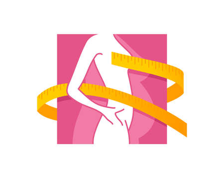 Weight loss emblem   concept - diet program isolated icon in form of abstract woman silhouette (fat and shapely figure) with measuring tape around