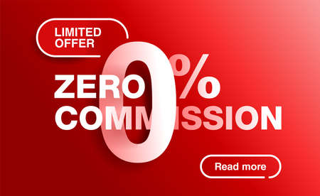 percents red banner - limited time special offer template - zero commission limited offers message for web, poster, promo materials - vector layout