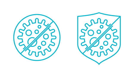 Antibacterial formula stamp - shield or prohibit sign with crossed bacterie inside - vector emblem for antiseptic cosmetics and medical products - crossed out virus icon in line style