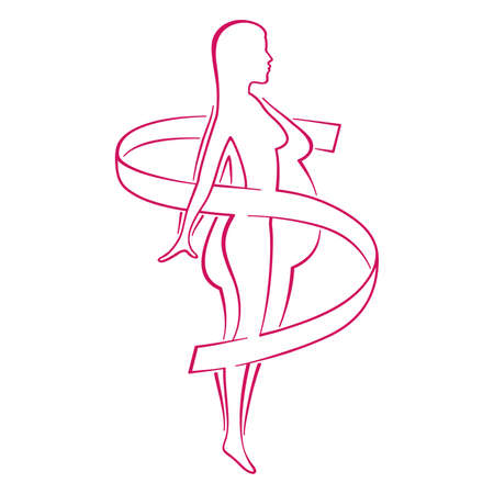 Weight loss program logo (isolated icon) - drawn female silhouette with fat and slim body comparsion and measuring tape around Logo