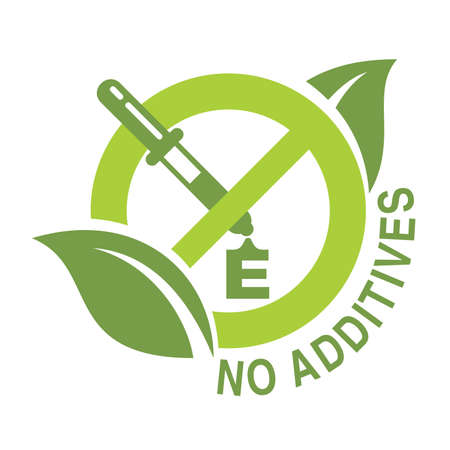 No additives sign - crossed out eyedropper with harmful E letter preservatives liquid inside and leaves around - isolated vector icon for healthy food