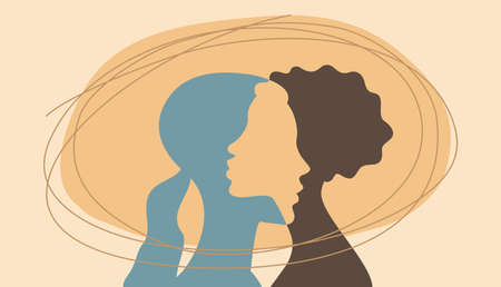 Two women hugging each other - white and black girls silhouettes in love - vector conceptual illustration