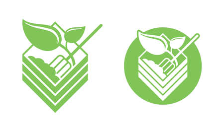 Organic fertilizer emblem with compost bin - farming agriculture useful component - naturally occurring organic animal wastes - isolated vector icon