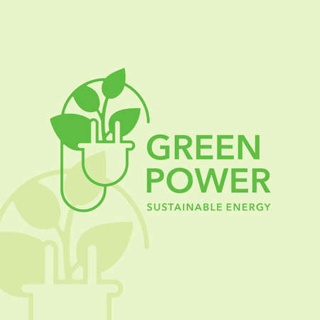 Green power or sustainable energy template - combination of ACDC electric plug and leaves Векторная Иллюстрация