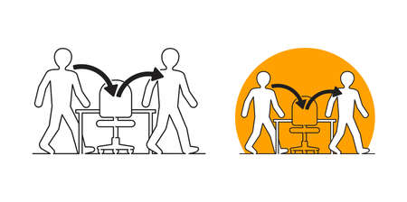 Employee turnover in human resources - act of replacing a worker with a new one, that measured as percentage rate - two people icons with working staff and office chair in thin line
