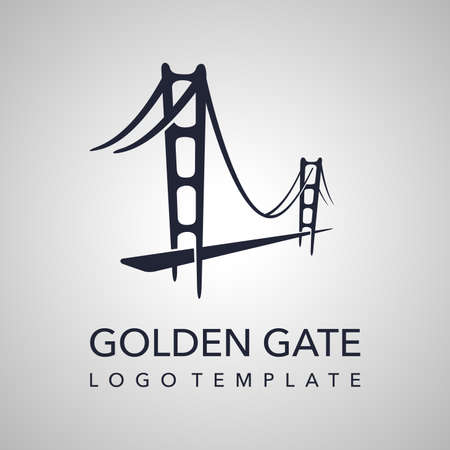 Golden Gate logo template with abstract silhouette of Bay Area bridge