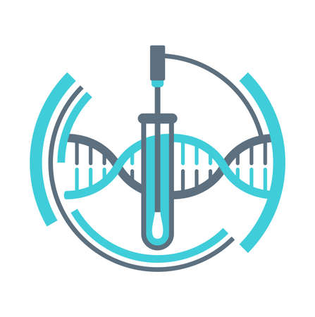 PCR testing icon with swab stick and test tube - polymerase chain reaction - disease prevention and fight against coronavirus pandemic - vector emblem