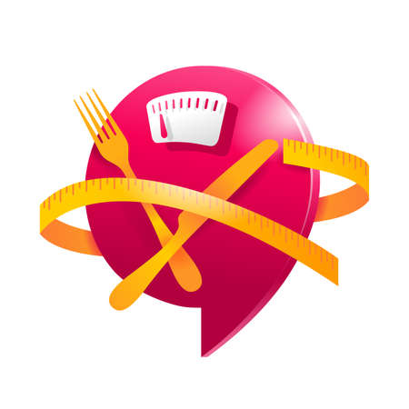 Low Cal and healthy nutrition 3D icon - weight scales with fork, knife and measuring tape around - pictogram for dietary low-cal food products - isolated vector emblem