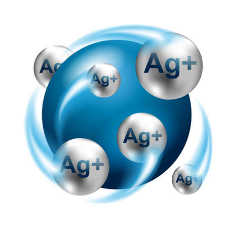 Silver ions, Ag-plus action 3D emblem in blue and silver colors - antibacterial effect of ion solution - science, chemistry and technology marking, icon or logo template Logo
