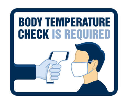 Body temperature check is required sign for door sticker - temperature meter in hand and human profile in face mask - attention warning poster