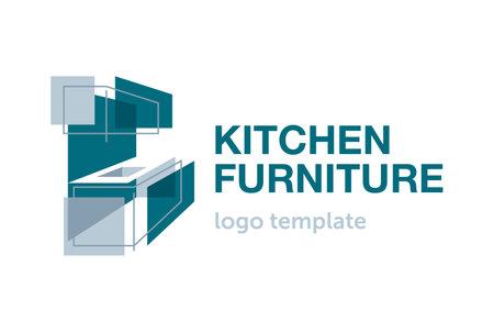 Custom furniture kitchen wooden cabinet logo template - creative perspective fasade form of cooking worktop - isolated vector emblem. Vector illustration Ilustração