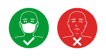 No entry without face mask sticker as comparsion - cancelled unmasked man and confirmed person with protective mask - information sign Vecteurs