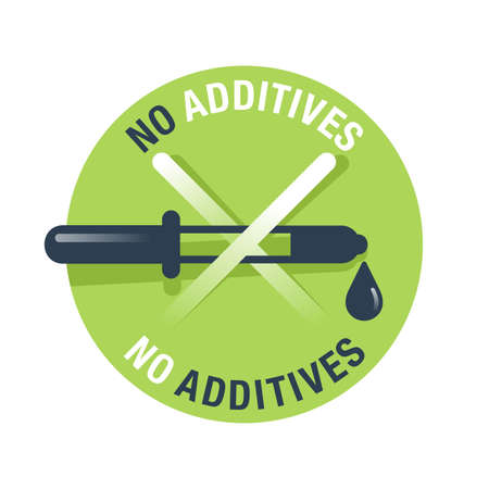 No preservatives, additives or dye free green pictogram - organic food sticker with eyedropper - vector packaging label in flat decoration Vetores
