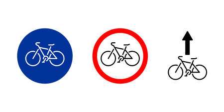 Bicycle road sign, cycle path signpost - vector set - stencil, icon, illustration. Vector illustration