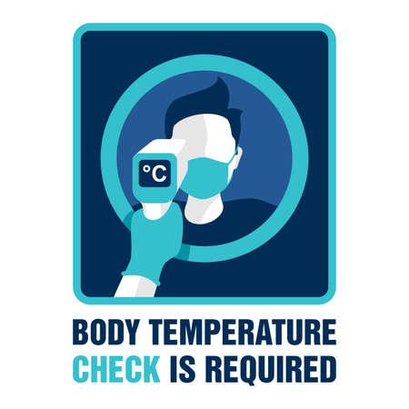 Body temperature check is required notification for door sticker - temperature meter in hand and human profile in face mask - attention warning poster