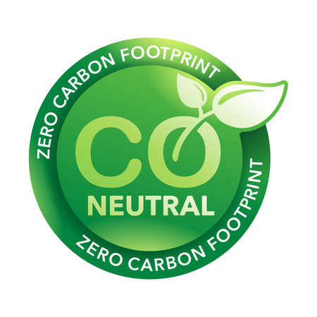 CO2 neutral green sticker, net zero carbon footprint - carbon emissions free no air atmosphere pollution industrial production eco-friendly isolated sign in creative decoration Vecteurs