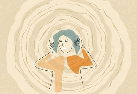 Abstract confused and frustrated woman with nervous problem touching her head. Mental disorder and chaos in consciousness