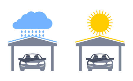 Carports pictograms set - automobile protection from ultraviolet light and rain - isolated vector icons