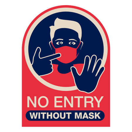 No entry without mask red and blue sticker - person silhouette in virus protective equipment - face mask required prohibit sign