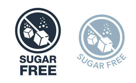 Sugar Free stamp - crossed out cubes dissolving in water - isolated vector emblem for dietic and anti-diabetic food products