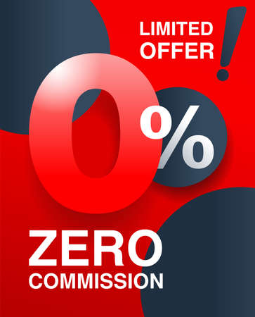 percents red banner - zero commission special offer layout template with zero digit and red background - vector promo limited offers flyer