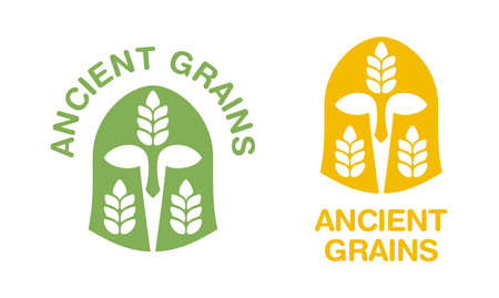 Ancient grains icon - agricultural term for grain categories with association of ancient greek helmet - isolated monochrome emblem for healthy nutrition