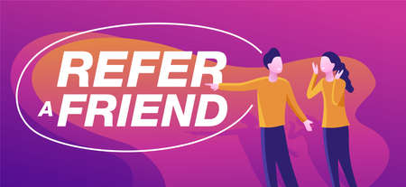 Refer a friend referral program promotion banner - decorative frame bubble for slogan and two interested people - vector purple poster Vector Illustration