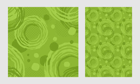 Green and Eco-friendly abstract seamless pattern with circular grunge elements - modern vector repeatable background
