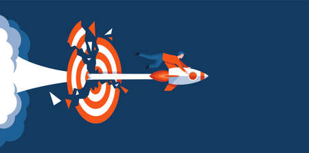 Successful businessman flying on rocket and piercing a goal target. Businessman on flying space ship. . Idea, growing, success, start up strategy. Flat vector cartoon illustration.