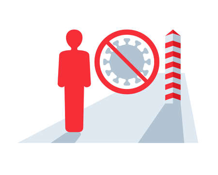 Observatory on Border Crossings Status due to customs car barrier with prohibit sign.crossed out virus and boundary pillar. isolated vector illustration