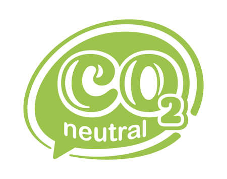 CO2 neutral green stamp. Net zero carbon footprint in bubble shape - carbon emissions free no air atmosphere pollution industrial production eco-friendly isolated sign in creative decoration Vecteurs