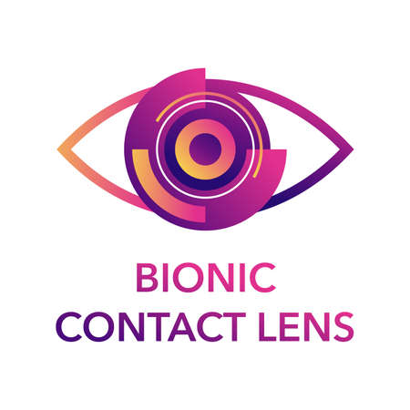 Bionic contact lens template. Medical label with cataract implant, clouded lens, cornea, incision and iris. Vector pictogram