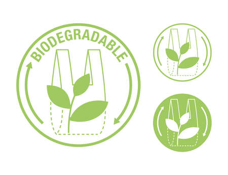 Biodegradable sticker - packet turns to plant branch - eco friendly compostable material production - environment protection emblem