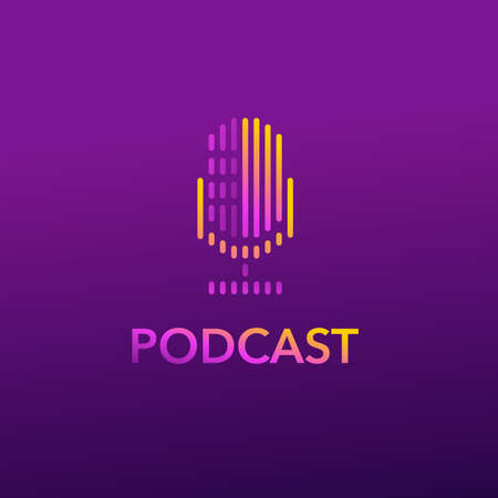 Podcast channel or Radio Station Logo design with Microphone icon in abstract colorful decoration