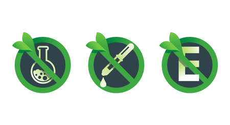 No preservatives, no additives, E number and dye free green signs set - crossed flask and E letter - organic food stickers - vector icons . Vector illustration