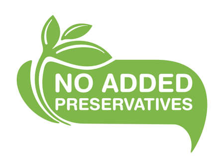 No Added Preservatives flat sign for healthy natural food products composition labels - vector isolated pictogram in 2 variations with outline plant leaf. Vector illustration