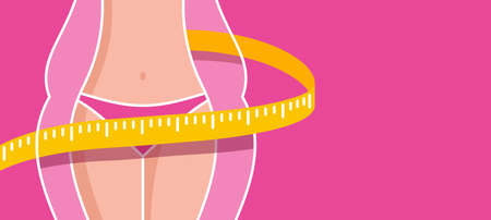 Losing weight banner template - diet, fitness or liposaction picture with copy space - fat woman body and slim figure with measuring tape - conceptual vector illustration