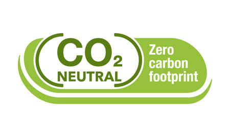 CO2 neutral green badge, net zero carbon footprint. carbon emissions free no air atmosphere pollution industrial production eco. friendly isolated sign in creative decoration