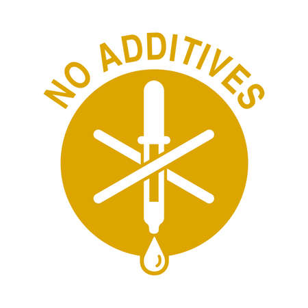 No preservatives, additives or dye free yellow pictogram - organic food sticker with eyedropper - vector packaging label in flat decoration Vetores