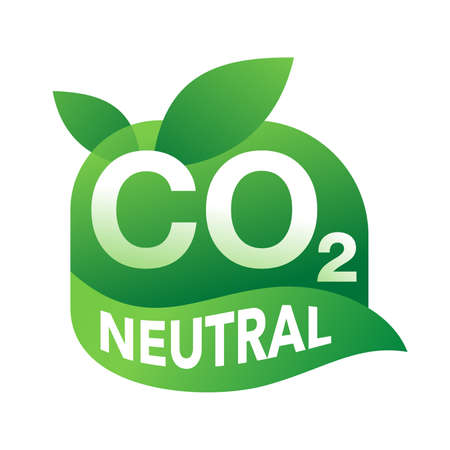 CO2 neutral badge, net zero carbon footprint - carbon emissions free no air atmosphere pollution industrial production eco-friendly isolated sign in creative decoration Vecteurs