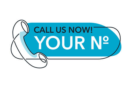 Call us Now. Blue rounded button - thin line template for phone number, in website header - conspicuous sticker with phone headset pictogram Vector Illustration