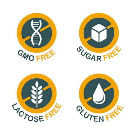 Lactose free flat icon, Sugar free, Gluten free, GMO free - set of food packaging decoration element for healthy natural organic nutrition