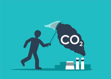 Carbon Capture Technology - net CO2 footprint development strategy. Vector illustration with metaphor - catching butterflies Ilustração Vetorial