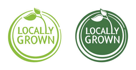 Locally grown emblem, stamp or slogan - eco-friendly emblem for packaging of regional farming fruits or vegetables - isolated vector pictogram