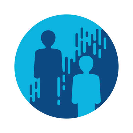 Networking icon, social network. Two people in single circle with connecting lines. Vector illustration 矢量图像