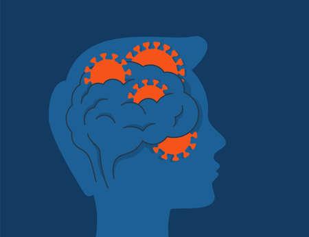 COVID-19 coronavirus Affect the Brain. Human head profile with viruses inside a brain. Vector illustration 矢量图像