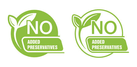 No Added Preservatives flat signs set for healthy natural food products composition labels - vector isolated pictogram in 2 variations with outline plant leaf. Vector illustration 矢量图像