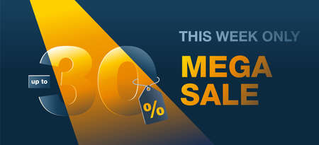 Mega sale dark banner up to 30 percents off - creative vector flyer with highlighted thirty - special sales and offers promo template